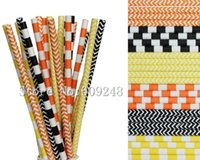 Wholesale Chevron Paper Yellow Straws - Wholesale-150pcs Drinking Paper Straws Mix,Black,Orange and Yellow Chevron and Sailor Striped,Fall Carnival,Halloween Party,Fun Cute Art