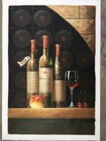 Wholesale modern wine abstract art canvas - Yi Le Mai Frameless Pure Hand Painted Modern Wall Decoration Three Grape Wine Bottle Art Oil Painting for Dining Room