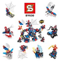 Wholesale Spiderman Toy Building - sy630 Super Heroes Spiderman Spider-Man Spider Man Movie Batman Action Building Bricks Children Gift Toys