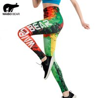 x201710 Marke Slim Leggings Graffiti Feuer 3D Druck push-up leggings Frauen WAIBO BEAR logo Knöchel-länge Elastische Fitness Bleistift leggins