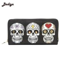 Wholesale red skull clutch - Wholesale- Zipper Design Clutch Purse Skull Expression Printing Women Wallet For Woman Ladies Phone Holder Card Holder
