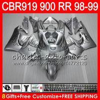 99 silber großhandel-Körper für HONDA CBR 919RR CBR900RR CBR919RR 1998 1999 68NO23 Silberflammen CBR 900RR CBR919 RR CBR900 RR CBR919 RR 98 99 Verkleidungssatz 8Gifts
