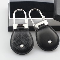 Wholesale fashion keychains for men resale online - Luxury men jewelry stainless steel genuine leather fashion design keychain top quality keyring for men men gift with box