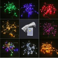 luces de cadena de hadas de led blanco al por mayor-40 LED String Mni Fairy Lights 3XAA Battery Power Operated Blanco / Blanco cálido / Azul / Amarillo / Verde / Púrpura Luces de Navidad Decoración navideña
