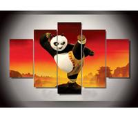 pinturas a óleo panda venda por atacado-Retratos da parede Para Sala de estar Arte Da Parede Kung Fu Panda Pintura A Óleo Sobre Tela Texturizado Pinturas Por Números Sem Moldura 5 Peças / set