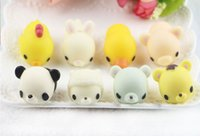 Wholesale Panda Bear Charms - Squishy Toys Squeeze Cat Panda Bear Seal Stress Relieve Kawaii Doll Cute Toys Paste On Cellphones