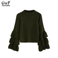 Wholesale Korean Winter Ladies Pullover - Wholesale- Dotfashion Woman Knitted Wweater Korean Winter Fashion Ladies Pullover Sweaters Olive Green Layered Ruffle Sleeve Sweater