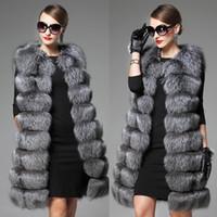 Wholesale Long Faux Fur Vest White - Wholesale-2017 White Black Winter Women Knitted Rabbit & Fox Fur Vest Plus Size Real Natural Rabbit Fur Coat Jackets Long Colete