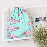 Wholesale Canvas Backpack Adult - Shopping Drawstring Bag Adult Travel Goods Fashion Flamingo Bundle Pocket Oblong Shape Canvas Shoulder Backpack Portable 6 98sb C R