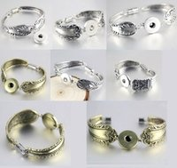 Wholesale Vintage Rhinestone Bracelet Sets - 10PCs Mix assorted women's Ginger 18mm Snap Button Chunk charms antique silver plated Vintage Chain Magnet buckle Bracelets Bangles