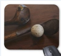 Wholesale Mouse Pad Ball - Rectangular non-slip natural rubber mouse mat close up of antique golf clubs and golf ball mouse pad computer accessories office