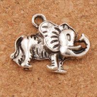 Wholesale Tibetan Silver Beads Elephant - Lucky Elephant Spacer Charm Beads 200pcs lot Tibetan Silver Pendants Alloy Handmade Jewelry DIY L1171 20x15.5 mm