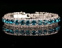 vente de bracelets diamant bleu achat en gros de-Nouveau Cristal Bracelets Bracelet Bleu Strass Diamant Tchèque Diamant Coréen Tennis Bracelet Bijoux à Vendre Livraison Gratuite