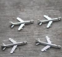 ingrosso ciondoli per aeromobili-40pcs - Charms per aeroplani, antichi pendenti con ciondoli in argento mini aereo Air Tibetan 22x15mm