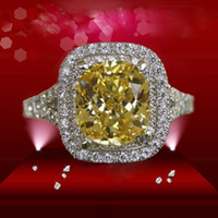 Wholesale Top Less - Custom ForeverBeauty 2CT Luxury Star Design Cushion Cut Top Yellow Synthetic Diamond Rings For Wedding Jewelry