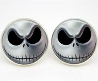 Wholesale Silver Plated Earring Posts - 10pairs lot Halloween Skulls earrings Posts Glass photo earrings stud post