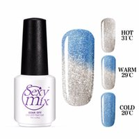 Wholesale Nail Lacquer Color Changing - Wholesale- Sexy mix Gel Lacquer Chameleon Temperature Change Color Gel Shiny Popular Glitter Blue UV Nail Gel Polish Whole Sale Price 7ML