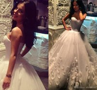 Wholesale Vestidos Plus Size China - .Vestidos De Novia Wedding Dresses with A Line Back Corset Made in China Sheer Tulle Hnadmade Flower Arabic Dubai Bridal Gowns