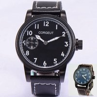 Corgeut 46mm quadrante nero / blu cassa in acciaio meccanico a carica manuale 6497 movimento Mens Watch 3ATM quadrante resistente all'acqua orologio da polso 1904/1903