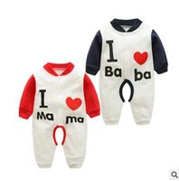 Wholesale Love Cute Baby Boy - Toddler kids rompers cute Baby girls boys letters cotton love heart jumpsuit Infants single-breasted long sleeve rompers Baby clothing C1854