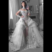 brautkleider arabisch wulstig großhandel-Zwei Stücke Meerjungfrau Brautkleider mit abnehmbaren Schleppe Illusion langen Ärmeln Perlen hohen Kragen saudi-arabischen Hochzeit Brautkleider