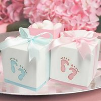 Wholesale Baby Day Out Candy - Wholesale- Pterry Feet Laser Cut-out Baby Shower Favor Gift Candy Box GIft Boxes For Boy Girl Brithday Party Favors Gift 12pcs
