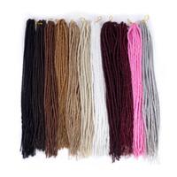 ingrosso luci di pollice-Trecce di Crochet Capelli estensioni dei capelli sintetici per gli uomini o le donne 24 pollici di peso leggero 24 fili / confezione intrecciare i capelli