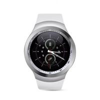 ingrosso vigilanza del tocco della donna-Y1 Round Bluetooth 3.0 Wearable Smart watch Uomo Donna Classic Business Smartwatch per Android IOS Supporto SIM Card Touch Screen