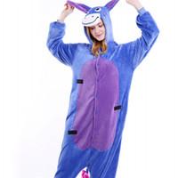 Wholesale cosplay women tiger online - Classic Donkey Onesies Unisex Animal Cartoon Tiger Pajama Set Men Cosplay Costume Women Onesie Sleepwear with Zipper Back MX