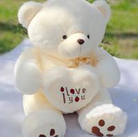 Wholesale Cute Love Teddy - Wholesale- 1pc 50cm&70cm Cute Stuffed Plush Toy Holding LOVE Heart Big Plush Teddy Bear Soft Gift for Birthday Girls' Brinquedos