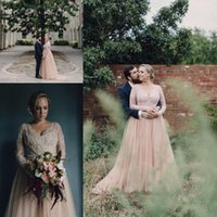 Wholesale V Neck Ruched Wedding Dress - 2017 New Country A Line Wedding Dresses V Neck Long Sleeves Lace Appliques Beaded Blush Pink Tulle Wedding Gowns Plus Size Bridal Dress