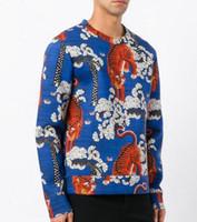 Wholesale Fashion Milan Italy - Luxury Fashion Blue Tiger Men Hoodies Pullover Sweatshirts Long Sleeve Italy Milan Casual Male Jacket Jumper Coats Size M-3XL