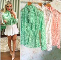 Wholesale Lace Butterfly Sleeve Top - Lace Girl Fashion 2017 Fall Women's Butterfly Long Sleeve Top Office Ladies Blouse Blusas Frilly Shirt Collar Collar Collar OL Pajamas