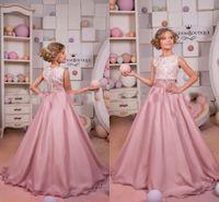 Wholesale Top Little Girl Dresses - Newest 2017 2 Piece Pageant Dresses Lace Top Long Chiffon Little Girl Party Dresses Lovely Jewel Formal Wear Dresses