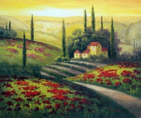 Wholesale Canvas Oil Painting Red Poppy - Framed Italian Hills Home Red Poppy Wildflowers Sunny,Pure Hand-painted Art Oil painting On Thick Canvas,Multi size Available J009