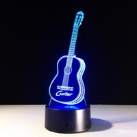Wholesale Guitar Party - Birthday Gift 3D guitar shaped Night light LED 7 Colors Change Touch bedside acrylic table lamp