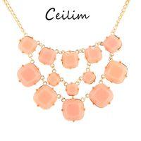 Wholesale Statement Necklace Orange - Fashion jewelry resin sliced gemstones statement necklace for women orange black colors multilayer bohemian necklace for wedding 2017