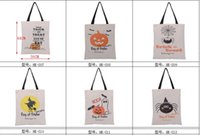 Wholesale Large Candy Decorations - Hot Sale Halloween Gift Bags Large Cotton Canvas Hand Bags Pumpkin Devil Spider Printed Halloween Candy Gift Bags