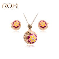 Charms ROXI Fiore rotondo perline di cristallo Orecchini / Collana a catena Ciondolo per matrimonio Ciondolo regalo Fashion Jewellery Set