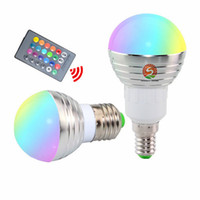 Wholesale Led Lamp Color E27 Spot - RGB LED Bulb E27 E14 3W LED Lamp Light Led Spotlight Spot light Bulb 16 Color Change Dimmable +24Keys Remote Controller