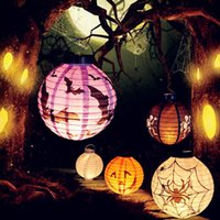 Halloween décoration LED papier citrouille lumière suspendus lanterne lampe Halloween Props Outdoor Party Supplies