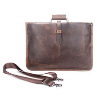 Wholesale Leather Briefcase For Laptop - Thin Genuine Leather Men's Briefcase Business Leather Laptop Bag For Men Messenger Bags Tote Brand Design 2017 New MB062