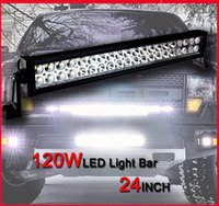 Wholesale Waterproof Led Lights For Atv - 24 inch 120W Car LED Work Working Light Bar Spot Flood Combo Beam 12V 24V For Truck Tractor Trailer ATV UTV 4X4 SUV Boat 4WD Waterproof IP67