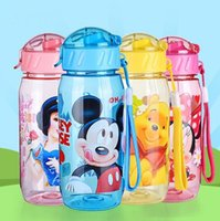 Wholesale Kids Plastic Water Cups - 401-500ml Cartoon Water Bottles Plastic Straw Drinkware Kids Snow White Princess Mickey Outdoor Drinking Cup Bottle CCA7315 50pcs