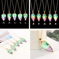 Wholesale Rainbow Druzy - New Rainbow Scott Druzy Quartz Necklace Irregular Triangle Natural Stone Pendant Necklaces Chakra Gemstone Gold Chain Women Fine Jewelry