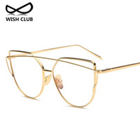 Wholesale Wholesale Designer Optical Frames - Wholesale- WISH CLUB Brand Designer Glasses For Women Classic Cat Eye Glasses Transparent Lens Optical Glasses Metal Frame Female Oculos
