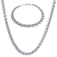 Wholesale Mens Silver Curb Bracelet - Mens chain Necklace Bracelet Polished Silver Tone 316L Stainless Steel Chain Curb Cuban Link Chain Jewelry Set wholesale
