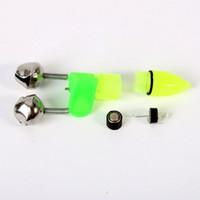 ingrosso barre di galleggiamento-10pcs LED blu 74mm / 3 26mm / 1 2 batterie LR41 pulsante luce notturna galleggiante campane gemelle anello canna da pesca morso allarme pesca accessorio