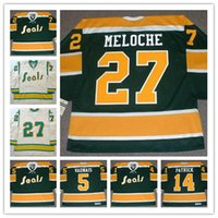 Hot! Mens California Golden Seals # 27 GILLES MELOCHE Throwback VINTAGE Jerseys 1970s # 5 CAROL VADNAIS # 14 CRAIG PATRICK Sela camisas de hóquei