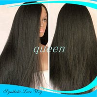 Wholesale Wig Dark Blue Long - Yaki Straight Synthetic Lace Front Wig with Baby Hair Black Long Straight Wig for Black Women No Shedding No Tanlged for Black Women